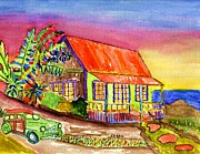 Florida House Paintings - Tropical Surfing House by Connie Valasco