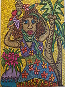 Fruit Trees Drawings - Tropical Tina by Gerri Rowan