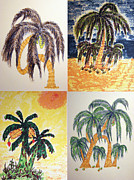 Banana Art Prints - Tropical Trees Collage Print by Daniel Goodwin