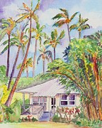 Bamboo House Painting Framed Prints - Tropical Waimea Cottage Framed Print by Marionette Taboniar