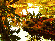 Land Scape Digital Art Prints - Tropical Water Garden Print by Amy Vangsgard