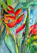 Watercolor Drawings Posters - Tropical Waterfall Poster by Mindy Newman