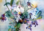 Floral Mixed Media Metal Prints - Tropical White Orchids Metal Print by Mindy Newman
