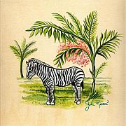 John Keaton Paintings - Tropical Zebra by John Keaton