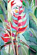 Green Drawings Originals - Tropicana Red by Mindy Newman