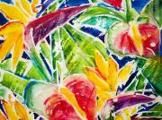 Bird Of Paradise Paintings - Tropics - Floral by Julie Kerns Schaper - Printscapes