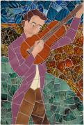 Mosaic Mixed Media Originals - Troubadour by Jonathan Mandell