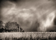 Farmhouses Art - Trouble Brewing BW by JC Findley