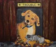 Shoe Paintings - Trouble by Dorothy Denmon