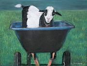 Humorous Pastels Posters - Trouble in a Wheelbarrow Poster by Linda Scharck