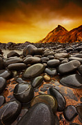 Pebbles Framed Prints - Troublesome Sky Framed Print by Mark Leader