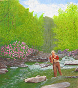 Fisherman In Stream Paintings - Trout and Rhododendrons by Jim Hefley