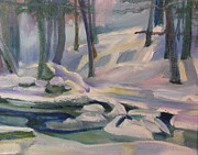 New England Snow Scene Painting Framed Prints - Trout Brook Winter Framed Print by Sid Solomon