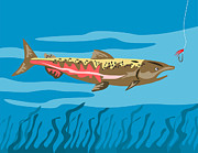 Salmon Digital Art Posters - Trout Fish Retro Poster by Aloysius Patrimonio