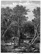 Trout Stream Landscape Prints - Trout Fishing, 1867 Print by Granger