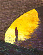 Fishing Pastels Posters - Trout Fishing Poster by Garry McMichael