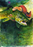 Brown Trout Prints - Trout in Hand Print by John D Benson