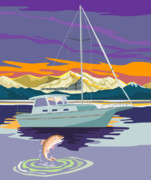 Fish Digital Art Posters - Trout jumping boat Poster by Aloysius Patrimonio