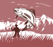 Woodcut Posters - Trout jumping fisherman Poster by Aloysius Patrimonio