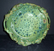 Green Ceramics Framed Prints - Trout Pattern Glaze Bowl with Leaves Framed Print by Carolyn Coffey Wallace