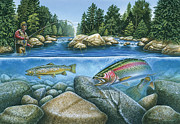 Rock  Painting Originals - Trout View by JQ Licensing