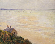 Beach Hut Paintings - Trouville at Low Tide by Claude Monet
