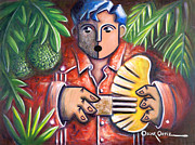 Puerto Rico Paintings - Trovador de la pana by Oscar Ortiz