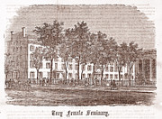 Woodcut Photo Framed Prints - Troy Female Seminary, Woodcut, 1800 Framed Print by Everett