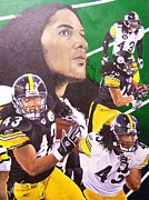 Football Safety Prints - Troy Polamalu Print by Billy Haney