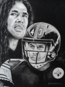 Football Safety Drawings - Troy Polamalu of the Pittsburgh Steelers by Carla Carson