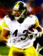 Game Mixed Media Metal Prints - Troy Polamalu Metal Print by Paul Van Scott