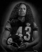 Steelers Drawings - Troy by Raoul Alburg