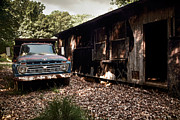 Rundown Barn Posters - Truck and Barn Poster by Susan Isakson