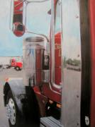 Reflections Mixed Media Originals - Truck in Red by Anita Burgermeister