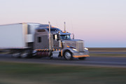 Travel Truck Prints - Truck on Texas Highway 287 at Sunrise Print by Jeremy Woodhouse