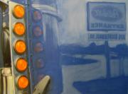 Reflections Mixed Media Originals - Truck reflections on blue by Anita Burgermeister