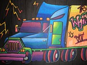 Lightening Mixed Media Prints - Truck Stop Print by Erika Frey