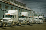 Tractor Trailer Digital Art Prints - Trucks in a Row Print by Steve Shockley