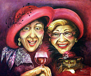 Red Wine Paintings - Trudy and Grace Play Dressup by Shelly Wilkerson