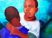 African American Men Paintings - True Brotherly Love by Kenji Tanner