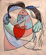 Cubist Posters - True Love When Two Become One Poster by Anthony Falbo