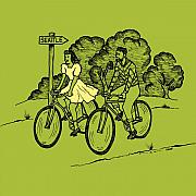 Bicycle Drawings Posters - True Romance Bike Ride Poster by Karl Addison