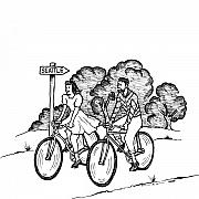 Bicycle Drawings - True Romance Seattle Bike Ride by Karl Addison