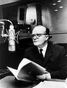 Capote Framed Prints - Truman Capote In Studio For A Christmas Framed Print by Everett