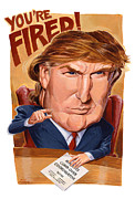 Caricature Paintings - Trump Fires Back by Shawn Shea