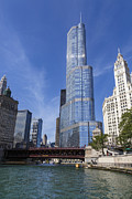 Chicago River Prints - Trump Tower Chicago Print by Adam Romanowicz