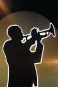 Nightshot Posters - Trumpet - Classic Jazz Music All Night Long Poster by Christine Till