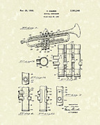 1939 Drawings Posters - Trumpet 1939 Patent Art  Poster by Prior Art Design