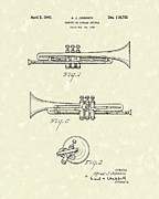 Music Drawings Prints - Trumpet 1940 Patent Art Print by Prior Art Design