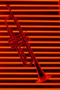 Horn Posters - Trumpet and red neon Poster by Garry Gay